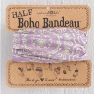 Natural Life Half Boho Headband Bandeau PurplCream